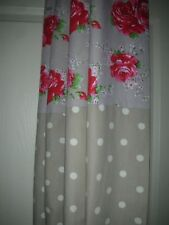 "Unique Eyelet Curtains in Cath Kidston Classic Rose & Spot Stone  90"" drop RARE"