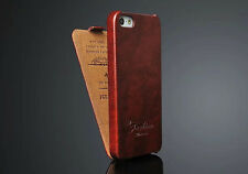 Luxury Fashion Vertical Flip PU Leather Brown Phone Case Covers For iPhone 5(5s)