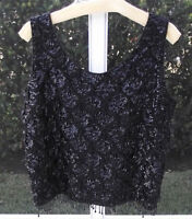ANTIQUE VINTAGE BLACK SEQUIN BEADED SLEEVELESS EVENING BLOUSE KNIT TOP L 1940's