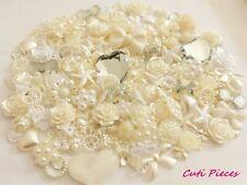 100pcs Ivory Cabochons Embellishments Heart Bows Rose Pearls Flat-Back Craft BC3