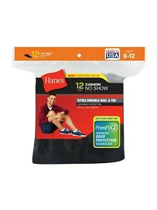 "Hanes® Men's FreshIQ™ Black No-Show Socks 12-Pack   ""CUSHION & COOL"" Made In USA"