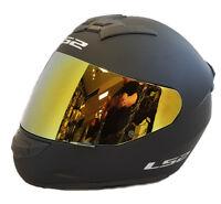 LS2 FF352 ROOKIE FULL FACE MOTORCYCLE HELMET MATT BLACK WITH GOLD IRIDIUM VISOR