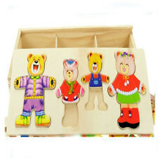 Set of Dress-Up Wood Puzzle Bear Family Mix and Match Wooden Jigsaw Melissa/Doug