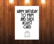 Funny Rude Birthday Card for Brother or Sister