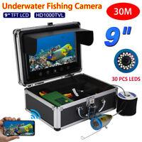 9'' Pro 30m 1000TVL Fish Finder Underwater Sonar Fishing Camera Color HD Monitor