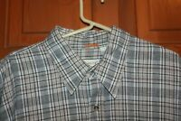 Basic Elements Men's Beige Black Plaid Button Up Short  Sleeve Shirt Size XL EUC
