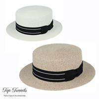Mens Womens Summer Boater Hat Straw Sailor Skimmer Quality Sun Hat