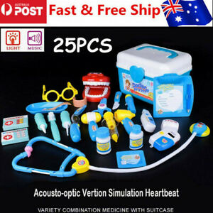 Durable Kids Play Role Pretend Kit Doctor Nurse Medical Toys Case Set Xmas Gift