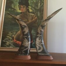 Pair Of Vintage Chinese Hand Carved Buffalo Horns Mounted On Wood Base