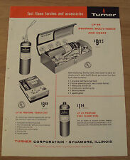 """1959 Advertising Tool Trade Brochure~""""Turner Corp""""~Torches/Propan e/Parts~"""