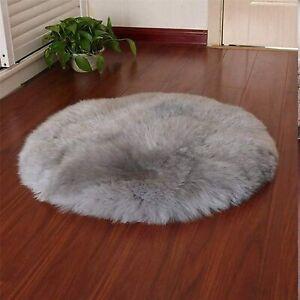 Round Faux Fur Sheepskin Area Rug Fleece Chair Cover Fluffy Shaggy 90cm GREY