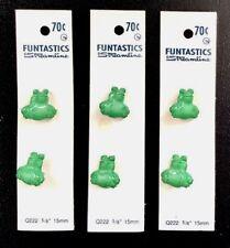 "Six (6) Streamline Funtastics Realistic Frog Green Plastic Shank Buttons ⅝"""
