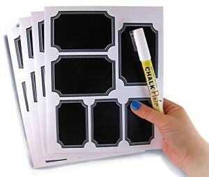 White Custom Border Chalkboard Labels Chalk Marker  Stickers in 2 Sizes.