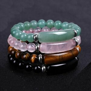 Fashion Tiger Eye Natural Stone Beaded Bracelet Women Elasticity Bangle Jewelry
