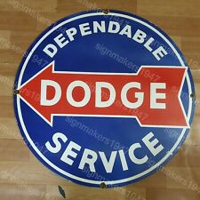 DODGE DEPENDABLE SERVICE PORCELAIN ENAMEL SIGN 30 INCHES ROUND
