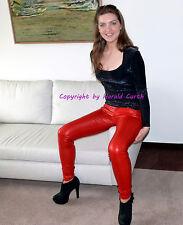 SIMILPELLE hx561 Pantaloni Jeans Skinny Rosso-Metallico Mis. 38 unisex lucentezza Stretch
