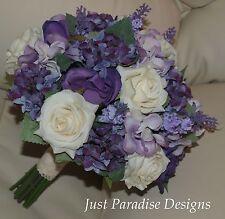 Artificial Wedding Bouquet Set - Roses and Hydrangea Lavender - silk flower
