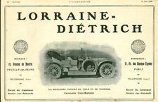 Publicité ancienne automobile Lorraine Diétrich 1909 issue de magazine