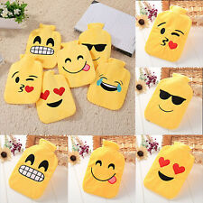 Cute Emoji Rubber Hot Water Bottle & Plush Cover Hand Foot Warmer Winter Gift