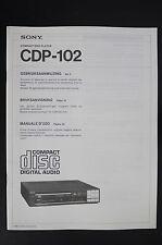 Sony cdp-102 ORIGINAL LECTEUR CD mode d'em Ploi / Mode d'em Ploi