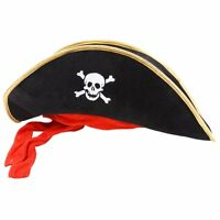Black Pirate Hat Gold Trim Skull Velvet Red Mens Ladies Fancy Dress Accessory