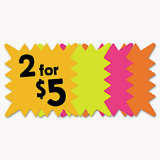 Cosco Die Cut Paper Signs 5 1/4 x 5 1/4 Square Assorted Colors Pack of 48 Each