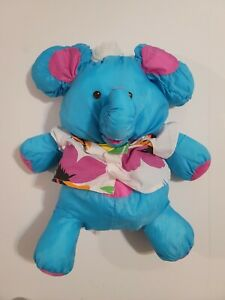 Vintage 1987 Fisher Price PUFFALUMP BLUE ELEPHANT Stuffed Plush HAWAIIAN SHIRT