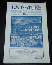 REVUE LA NATURE N°2653 1925 MESURE DU TEMPS EN GEOLOGIE / LA PAILLE / METEO