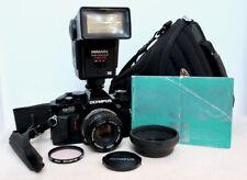 Vintage OLYMPUS OM40 35mm film SLR camera kit with lens, flash & extras