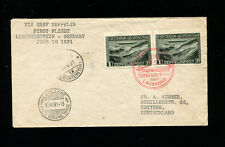 Zeppelin Sieger 110Avar 1931 Vaduz Flight Liechtenstein Post 2 X 1FR on letter