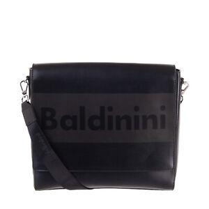 RRP €290 BALDININI Coated Leather Messenger Bag Black Logo Front Tablet Pocket