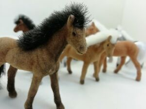 Set Of 10 Mini Flocked Plastic Horse Figures. Great For Farm Play Sets. 8cm tall