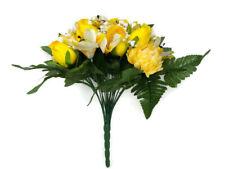 Artificial Rose Chrysanthemum & Lily Flower Bush x 35cm - Yellow