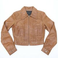 VINTAGE GUESS COLLECTION BROWN LEATHER JACKET WOMEN'S SIZE XS GENUINE LEATHER