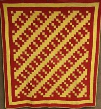 The graphics! c 1900 PA Turkey Red! Patch QUILT Antique