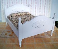 1:12 - Puppenhaus Miniatur DOPPELBETT -Weiß