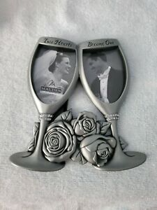 Malden Pewter Champagne Flutes - Two Hearts Become One Double Picture Frame NIB!