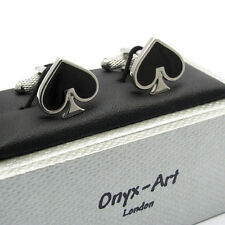 Ace of Spades Cufflinks by Onyx Art Cards card games New Boxed
