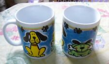 Set of 2 dog Puppy & Pawprints Colorful Decorated Coffee Cups Cup