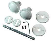 * Lots of 1 x White Plastic Mortice Door Knob Set With Fixings And Spindle