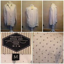 men's new look shirt size m white mini floral 100% cotton new with tags
