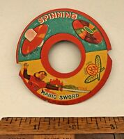 UNUSUAL VINTAGE 1960s MAGIC SWORD JAPAN DIE-CUT PRINTED CARD BALLOON TOY DISC!!!