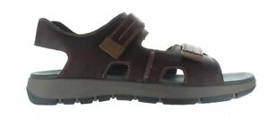 Clarks Mens Brixby Shore Dark Brown Leather Sport Sandals Size 13 (1492227)