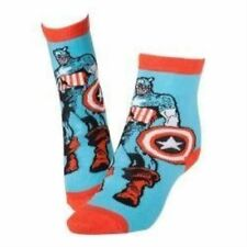 Marvel Comics Captain America Adult Male Super Soldier & Shield Crew Socks 39/4