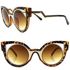 Designer Fashion Stylish Elegant Tortoise Round Lens Cat Eye Frame Sunglasses