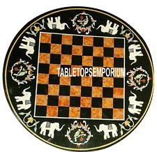 15'' Black Round Marble Chess Table Hakik Stone Inlay Elephant Arts Game Decor