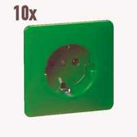 10x PEHA Standard Schuko-Steckdose D 80.6511 SI grün mit Unterputz Teil