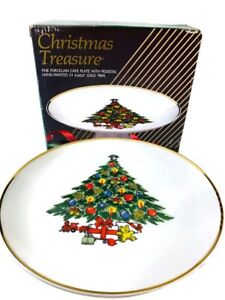 CHRISTMAS PEDESTAL CAKE PLATE IN BOX CHRISTMAS TREE WITH TOYS  AMERICAN POTTERY