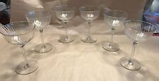Vintage Set of 6 Opalescent Crystal Cordial Glasses Aperitif Sherry Wine