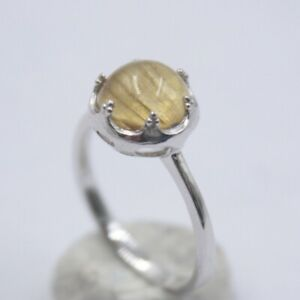 S925 Silver Ring For Women Female Yellow Rutilated Quartz Simple Ring US 7-9